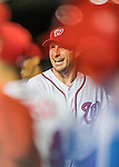25 August 2016: Washington Nationals starting pitcher Max Scherzer smiles in the dugout after completing 8 innings of shutout ball against the Baltimore Orioles at Nationals Park in Washington, DC. The Nationals blanked the Orioles 4-0 to salvage one game of their 4-game home and away series. Mandatory Credit: Ed Wolfstein Photo *** RAW (NEF) Image File Available ***