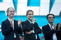 """(From L to R) Luca Zaia, Nello Musumeci, Attilio Fontana.<br /> <br /> Rome, 19/10/2019. Today, tens thousands of people (200,000 for the organisers, 50,000 for the police) gathered in Piazza San Giovanni to attend the national demonstration """"Orgoglio Italiano"""" (Italian Pride) of the far-right party Lega (League) of Matteo Salvini. The demonstration was supported by Silvio Berlusconi's party Forza Italia and Giorgia Meloni's party Fratelli d'Italia (Brothers of Italy, right-wing).  <br /> The aim of the rally was to protest against the Italian coalition Government (AKA Governo Conte II, Conte's Second Government, Governo Giallo-Rosso, 1.) lead by Professor Giuseppe Conte. The 66th Government of Italy is a coalition between Five Star Movement (M5S, 2.), Democratic Party (PD – Center Left, 3.), and Liberi e Uguali (LeU – Left, 4.), these last two parties replaced Lega / League as new members of a coalition based on Parliamentarian majority as stated in the Italian Constitution. The Governo Conte I (Conte's First Government, 5.) was 14-month-old when, between 8 and 9 of August 2019, collapsed after the Interior Minister Matteo Salvini withdrew his euroskeptic, anti-migrant, right-wing Lega / League (6.) from the populist coalition in a pindaric attempt (miserably failed) to trigger a snap election.<br /> <br /> Footnotes & Links:<br /> 1. http://bit.do/feK6N<br /> 2. http://bit.do/e7JLx<br /> 3. http://bit.do/e7JKy<br /> 4. http://bit.do/e7JMP<br /> 5. http://bit.do/e7JH7<br /> 6. http://bit.do/eE7Ey<br /> https://www.leganord.org<br /> http://bit.do/feK9X (Source, TheGuardian.com)<br /> Reportage: """"La Fabbrica Della Paura"""" (The Factory of Fear): http://bit.do/feLcy (Source Report, Rai.it - ITA)<br /> (Update) Reportage: """"La Fabbrica Social Della Paura"""" (The Social Network Factory of Fear): http://bit.do/fe8Pn (Source Report, Rai.it - ITA)"""