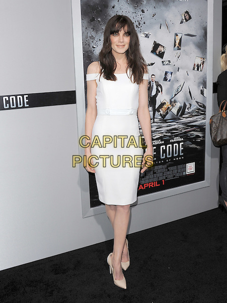 "MICHELLE MONAGHAN.L.A Premiere of ""Source Code"" held at The Cinerama Dome in Hollywood, California, USA..March 28th, 2011.full length white dress off the shoulder beige pointy shoes .CAP/RKE/DVS.©DVS/RockinExposures/Capital Pictures."