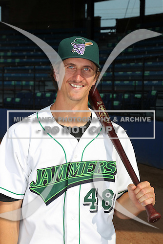 Jamestown Jammers first baseman Aaron Senne (48) poses for a photo before a game vs. the Staten Island Yankees at Russell Diethrick Park in Jamestown Jammers, New York July 15, 2010.   Jamestown defeated Staten Island 5-1.  Photo By Mike Janes/Four Seam Images