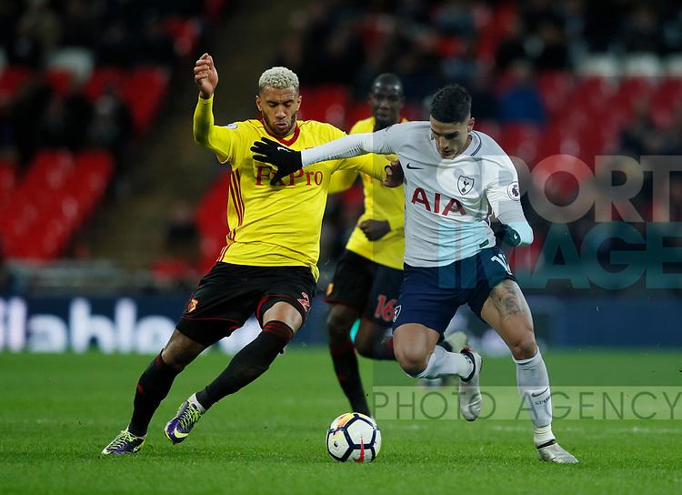 Etiene Capoue of Watford tackles Erik Lamela of Tottenham during the premier league match at Wembley Stadium, London. Picture date 30th April 2018. Picture credit should read: David Klein/Sportimage