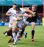 Mitch Lees of Exeter Chiefs takes on the Saracens defence. Aviva Premiership match, between Saracens and Exeter Chiefs on November 26, 2017 at Allianz Park in London, England. Photo by: Patrick Khachfe / JMP