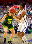 UNCASVILLE, CONNECTICUT -MAR 06: , UCONN ladies defeated USF 70-54 in the finals of the AAC tournament as #5 Crystal Dangerfield passes for one of her game high six assists  on March 6, 2018 in Uncasville, Connecticut. ( Photo by D. Heary/Eclipse Sportswire/Getty Images)