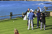 Singer Justin Timberlake tees off the par3 7th tee at Pebble Beach Golf Links during Saturday's Round 3 of the 2017 AT&amp;T Pebble Beach Pro-Am held over 3 courses, Pebble Beach, Spyglass Hill and Monterey Penninsula Country Club, Monterey, California, USA. 11th February 2017.<br /> Picture: Eoin Clarke | Golffile<br /> <br /> <br /> All photos usage must carry mandatory copyright credit (&copy; Golffile | Eoin Clarke)