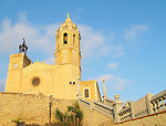17th century seaside church of Sant Bartomeu in Sitges near Barcelona, Spain.