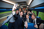 St Johnstone v Dundee United....17.05.14   William Hill Scottish Cup Final<br /> Frazer Wright takes a selfie with his team mates on the journey back to Perth<br /> Picture by Graeme Hart.<br /> Copyright Perthshire Picture Agency<br /> Tel: 01738 623350  Mobile: 07990 594431