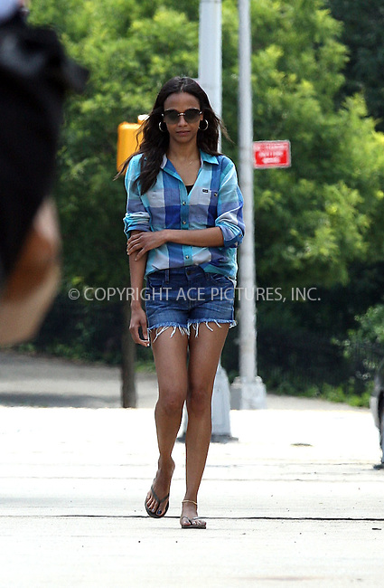 "WWW.ACEPIXS.COM . . . . .  ....June 14 2012, New York City....Actress Zoe Saldana on the set of the new movie ""Blood Ties' on June 14 2012 in New York City....Please byline: PHILIP VAUGHAN - ACE PICTURES.... *** ***..Ace Pictures, Inc:  ..Philip Vaughan (212) 243-8787 or (646) 769 0430..e-mail: info@acepixs.com..web: http://www.acepixs.com"