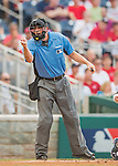 22 July 2016: MLB Umpire Dan Bellino calls a strike at the plate during a game between the Washington Nationals and the San Diego Padres at Nationals Park in Washington, DC. The Padres defeated the Nationals 5-3 to take the first game of their 3-game, weekend series. Mandatory Credit: Ed Wolfstein Photo *** RAW (NEF) Image File Available ***