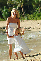 Mother and daughter playing on beach togather