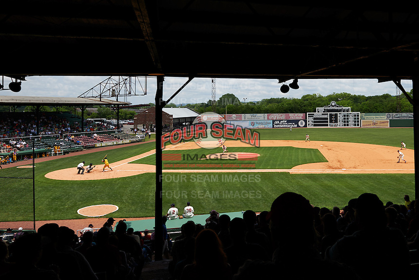 General view of the 20th Annual Rickwood Classic Game between the Jacksonville Suns and Birmingham Barons on May 27, 2015 at Rickwood Field in Birmingham, Alabama.  Jacksonville defeated Birmingham by the score of 8-2 at the countries oldest ballpark, Rickwood opened in 1910 and has been most notably the home of the Birmingham Barons of the Southern League and Birmingham Black Barons of the Negro League.  (Mike Janes/Four Seam Images)