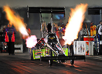 Sept. 17, 2010; Concord, NC, USA; NHRA top fuel dragster driver Doug Foley launches off the starting line during qualifying for the O'Reilly Auto Parts NHRA Nationals at zMax Dragway. Mandatory Credit: Mark J. Rebilas/