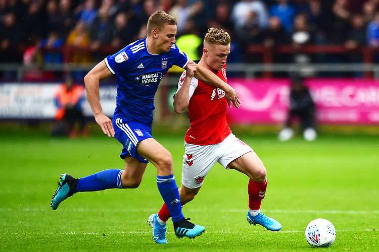 Ipswich Town's Cole Skuse vies for possession with Fleetwood Town's Kyle Dempsey<br /> <br /> Photographer Richard Martin-Roberts/CameraSport<br /> <br /> The EFL Sky Bet League One - Fleetwood Town v Ipswich Town - Saturday 5th October 2019 - Highbury Stadium - Fleetwood<br /> <br /> World Copyright © 2019 CameraSport. All rights reserved. 43 Linden Ave. Countesthorpe. Leicester. England. LE8 5PG - Tel: +44 (0) 116 277 4147 - admin@camerasport.com - www.camerasport.com