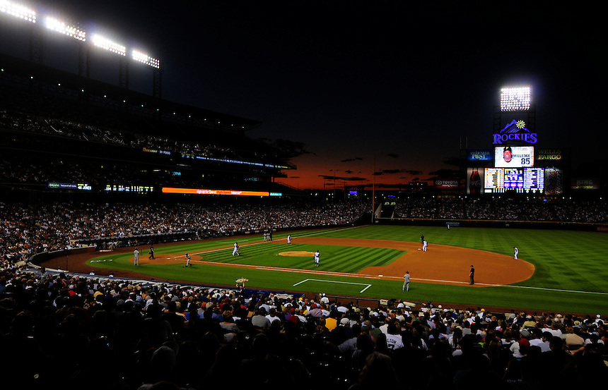 August 11, 2009: A general view of Coors Field from the infield lower level seats as a sunset fades away during a regular season game between the Pittsburgh Pirates and the Colorado Rockies at Coors Field in Denver, Colorado. *****For editorial use only*****