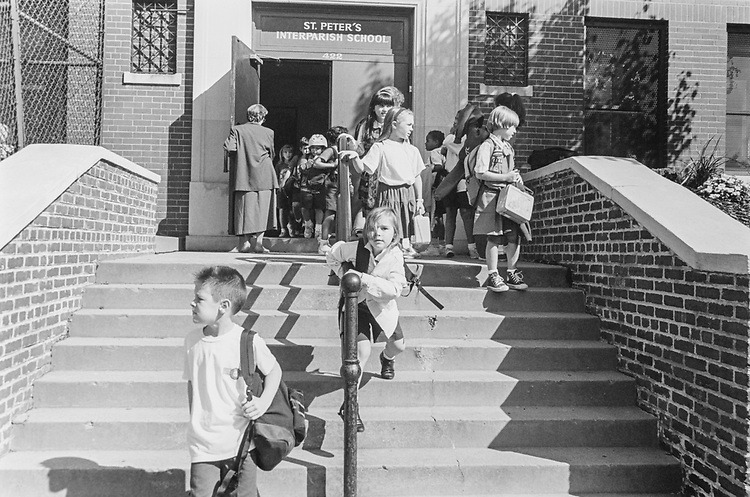 School's out! at St. Peter's Catholic School on District, Capitol Hill, on Sep. 30, 1993. (Photo by Laura Patterson/CQ Roll Call via Getty Images)