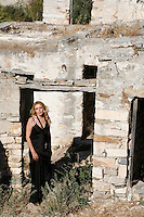 Celebrated Greek contemporary artist Vassiliki restored and old farmhouse on the island of Paros for use as an art studio and summer gat-away.  The three-floor home is decorated with antiques and accentuated by artworks by the owner.  The large outside area doubles as a sculpture garden.