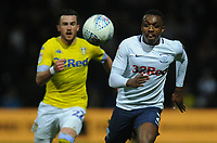 Preston North End's Darnell Fisher under pressure from Leeds United's Jack Harrison<br /> <br /> Photographer Kevin Barnes/CameraSport<br /> <br /> The EFL Sky Bet Championship - Preston North End v Leeds United -Tuesday 9th April 2019 - Deepdale Stadium - Preston<br /> <br /> World Copyright &copy; 2019 CameraSport. All rights reserved. 43 Linden Ave. Countesthorpe. Leicester. England. LE8 5PG - Tel: +44 (0) 116 277 4147 - admin@camerasport.com - www.camerasport.com