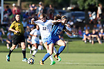 CARY, NC - AUGUST 18: North Carolina's Jessie Scarpa (12) and Duke's Malinda Allen (22). The University of North Carolina Tar Heels hosted the Duke University Blue Devils on August 18, 2017, at Koka Booth Stadium in Cary, NC in a Division I college soccer game.