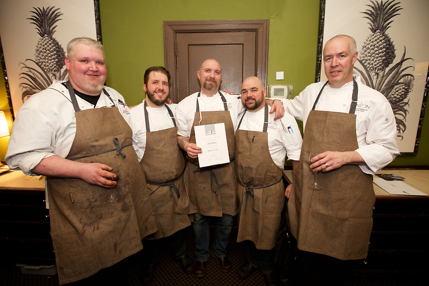 NEW YORK, NY - March 22, 2017: Chef Josh Berry of Union in Portland, Maine presents dinner at The James Beard Foundation in Greenwich Village.<br /> <br /> Credit: Clay Williams for the James Beard Foundation.<br /> <br /> &copy; Clay Williams / http://claywilliamsphoto.com