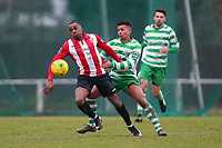 Matthias Fanimo of Hornchurch and Ben Glasgow of Waltham Abbey during AFC Hornchurch vs Waltham Abbey, Bostik League Division 1 North Football at Hornchurch Stadium on 13th January 2018