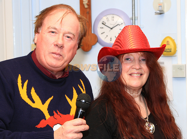 Frank Godfrey and Bridie having a bit of fun at the party..Picture: Shane Maguire / www.newsfile.ie.