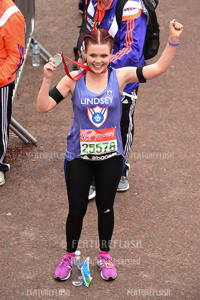 Lyndsey Russell finishes the 2015 London Marathon, The Mall, London 26/04/2015 Picture by: Steve Vas / Featureflash