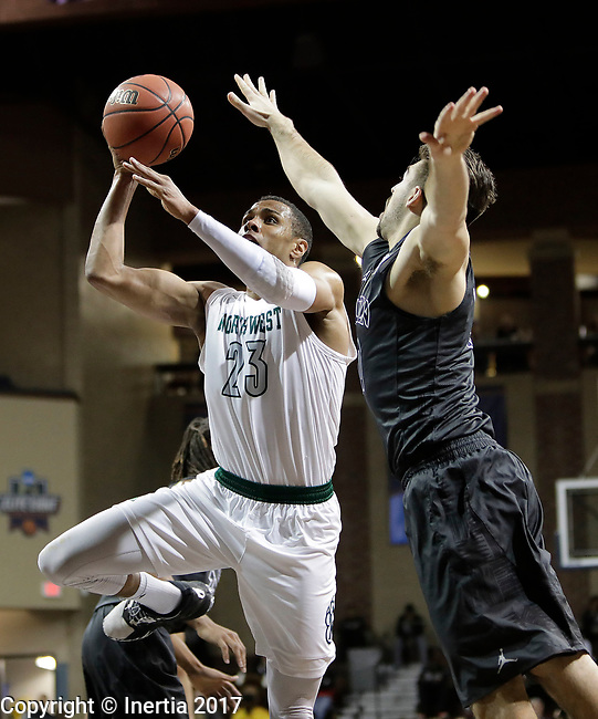 SIOUX FALLS, SD: MARCH 23: Chris-Ebou Ndow #23 of Northwest Missouri State shoots past Hunter Spaw  #10 of Lincoln Memorial during the Men's Division II Basketball Championship Tournament on March 23, 2017 at the Sanford Pentagon in Sioux Falls, SD. (Photo by Dick Carlson/Inertia)