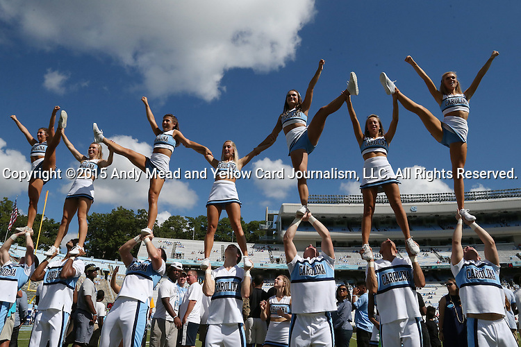 19 September 2015: UNC cheerleaders. The University of North Carolina Tar Heels hosted the University of Illinois Fighting Illini at Kenan Memorial Stadium in Chapel Hill, North Carolina in a 2015 NCAA Division I College Football game. UNC won the game 48-14.