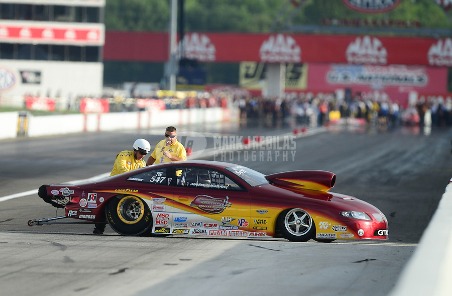 Aug. 31, 2012; Claremont, IN, USA: NHRA pro stock driver Mark Hogan during qualifying for the US Nationals at Lucas Oil Raceway. Mandatory Credit: Mark J. Rebilas-