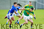 S Kerry's Chris Farley  and KOR's Jake Savage in the  Garvey SuperValu Senior County Football Championship Round 1 Kerins O'Rahillys V South Kerry at Strand Rd on Sunday