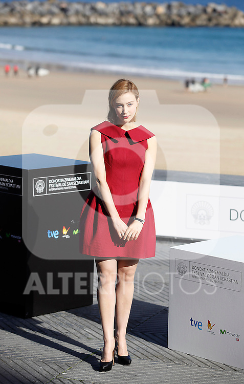 Actress Sarah Gadon posses during the 61 San Sebastian Film Festival, in San Sebastian, Spain. September 21, 2013. (ALTERPHOTOS/Victor Blanco)
