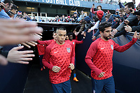 Cary, N.C. - Tuesday March 27, 2018: Bobby Wood, Kenny Saief during an International friendly game between the men's national teams of the United States (USA) and Paraguay (PAR) at Sahlen's Stadium at WakeMed Soccer Park.