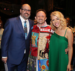 "Christopher Ashley, Matt Allen and Kelly Devine during the Actors' Equity Gypsy Robe Ceremony  honoring Matt Allen for ""Escape To Margaritaville"" at The Marquis Theatre on March 15, 2018 in New York City."