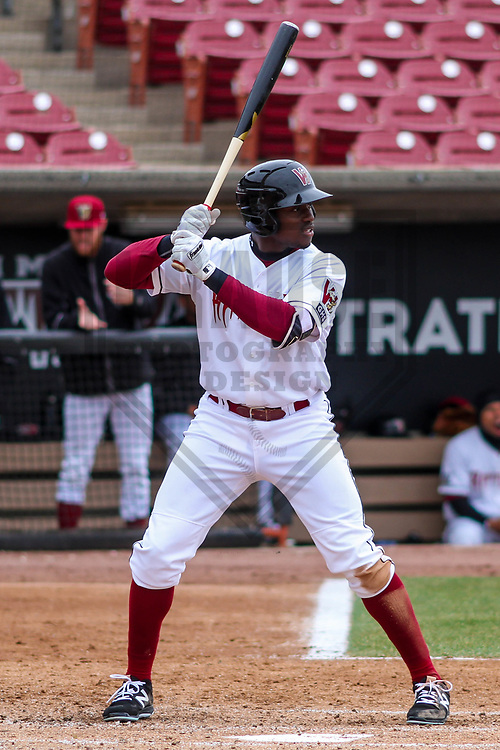 Wisconsin Timber Rattlers outfielder Demi Orimoloye (6) during a Midwest League game against the Burlington Bees on April 11th, 2017 at Fox Cities Stadium in Appleton, Wisconsin.  Burlington defeated Wisconsin 4-1. (Brad Krause/Krause Sports Photography)