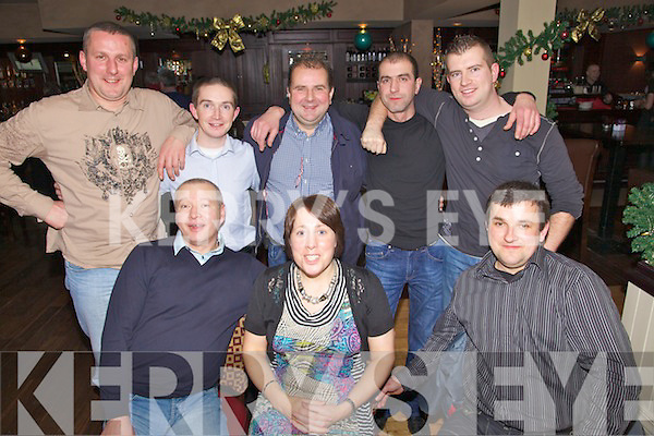 Enjoying themselves at the Kingdom Crash Repairs Xmas party held in O'Donnell's of Mounthawk on Friday night were seated l/r Mika Kuzmicki, Kay Keane and Don Paskevicius, standing l/r Artur Hemirkai, J.P. O'Carroll, Tadhg O'Sullivan, Dimitri Novas and Patrick Prendergast.