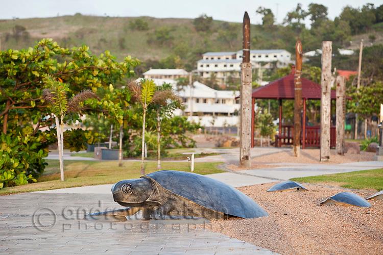 Sea turtle sculpure on the Victoria Parade esplanade.  Thursday Island, Torres Strait Islands, Queensland, Australia