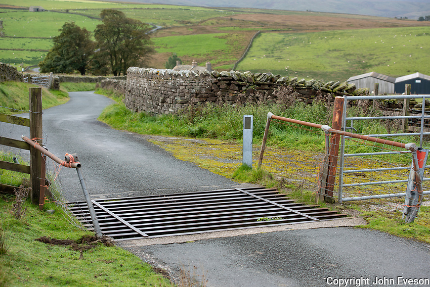 Cattle grid near Lancaster, Lancashire.