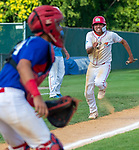 WATERBURY,  CT-072719JS33--D-Bat's Alejandro Mendoza (2) tries to score on a fly-ball but would get tagged out by Cyclones Ponce's Wilcael Rivera (64) during their Mickey Mantle World Series game Saturday at Municipal Stadium in Waterbury.  <br /> Jim Shannon Republican-American