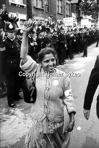 Willisden, London. 1977<br /> Mrs Jayaben Desai leader of Asian women's strike at the Grunwick film processing factory. In protest over working conditions and not being allowed to join a union, Mrs Desai confronted the management:- &quot;What you are running here is not a factory, it is a zoo. In a zoo there are many types of animals. Some are monkeys who dance on your fingers tips, others are lions who can bite you...We are the lions Mr Manager&rdquo;.<br /> <br /> .