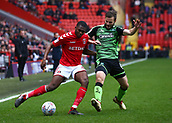 24th March 2018, The Valley, London, England;  English Football League One, Charlton Athletic versus Plymouth Argyle; Lionel Ainsworth of Plymouth Argyle puts pressure on Anfernee Dijksteel of Charlton Athletic