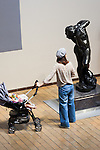 A woman looks at sculptures at the National Museum of Western Art in Ueno Park on July 18, 2016, Tokyo, Japan. The UNESCO World Heritage Committee decided to add Japan's National Museum of Western Art designed by the Swiss-French architect Le Corbusier to the World Heritage list during a meeting in Istanbul on Sunday. The museum which was completed in 1959 is the only Japanese structure designed by the world renowned architect. (Photo by Rodrigo Reyes Marin/AFLO)
