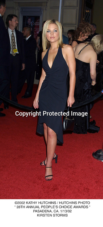 "©2002 KATHY HUTCHINS / HUTCHINS PHOTO."" 28TH ANNUAL PEOPLE'S CHOICE AWARDS "".PASADENA, CA. 1/13/02.KIRSTEN STORMS"