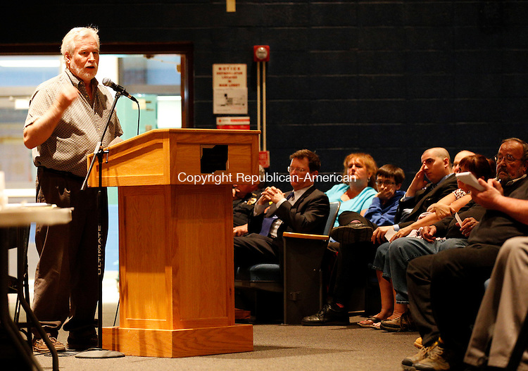 Winsted, CT- 04 May 2015-050415CM06- Timothy Gidman addresses  town officials during the 2015-16 town budget proposal meeting at the Gilbert School in Winsted on Monday.  Christopher Massa Republican-American