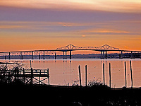 A view of the old Jamestown Bridge from Plum Pt., Saunderstown.