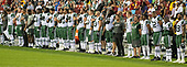 New York Jets quarterback Sam Darnold (14), far left, stands with his teammates as the National Anthem is sung prior to the game against the Washington Redskins at FedEx Field in Landover, Maryland on Thursday, August 16, 2018.<br /> Credit: Ron Sachs / CNP<br /> (RESTRICTION: NO New York or New Jersey Newspapers or newspapers within a 75 mile radius of New York City)