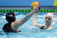 PICTURE BY ALEX WHITEHEAD/SWPIX.COM - Water Polo - Water Polo National Age Group Championships 2013 - Manchester Aquatics Centre, Manchester, England - 28/04/13 - Liverpool (white) v Manchester (blue) in the Junior Girls final.