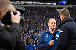 16.03.2019, VELTINS Arena, Gelsenkirchen, Deutschland, GER, 1. FBL, FC Schalke 04 vs. RB Leipzig<br /> <br /> DFL REGULATIONS PROHIBIT ANY USE OF PHOTOGRAPHS AS IMAGE SEQUENCES AND/OR QUASI-VIDEO.<br /> <br /> im Bild Huub Stevens (Trainer / Coach Schalke) im TV Interview<br /> <br /> Foto © nordphoto / Kurth