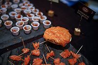 NEW YORK, NY - JUNE 25: Salmon are seen at a stand during the Summer Fancy Food Show at the Javits Center in the borough of Manhattan on June 23, 2019 in New York, The Summer Fancy Food Show is the largest and biggest specialty food industry event in the continent (Photo by Eduardo MunozAlvarezVIEWpress/Corbis via Getty Image