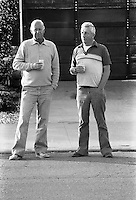 FREMONT, CA - Al Mangin and Bob Donovan drink beer in the street in 1985 in Fremont, California. (Photo by Brad Mangin)