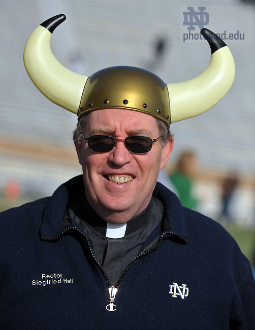 Siegfried Hall rector Rev. John Conley, C.S.C. at the men's interhall football championship..Photo by Matt Cashore/University of Notre Dame