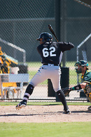 Chicago White Sox outfielder Bryan Connell (62) at bat during an Instructional League game against the Oakland Athletics at Lew Wolff Training Complex on October 5, 2018 in Mesa, Arizona. (Zachary Lucy/Four Seam Images)